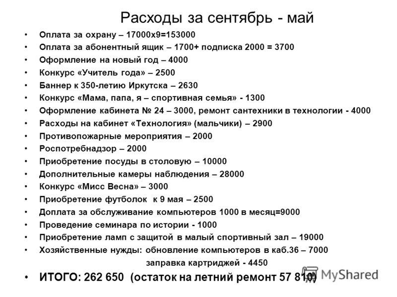 Расходы за сентябрь - май Оплата за охрану – 17000х9=153000 Оплата за абонентный ящик – 1700+ подписка 2000 = 3700 Оформление на новый год – 4000 Конкурс «Учитель года» – 2500 Баннер к 350-летию Иркутска – 2630 Конкурс «Мама, папа, я – спортивная сем