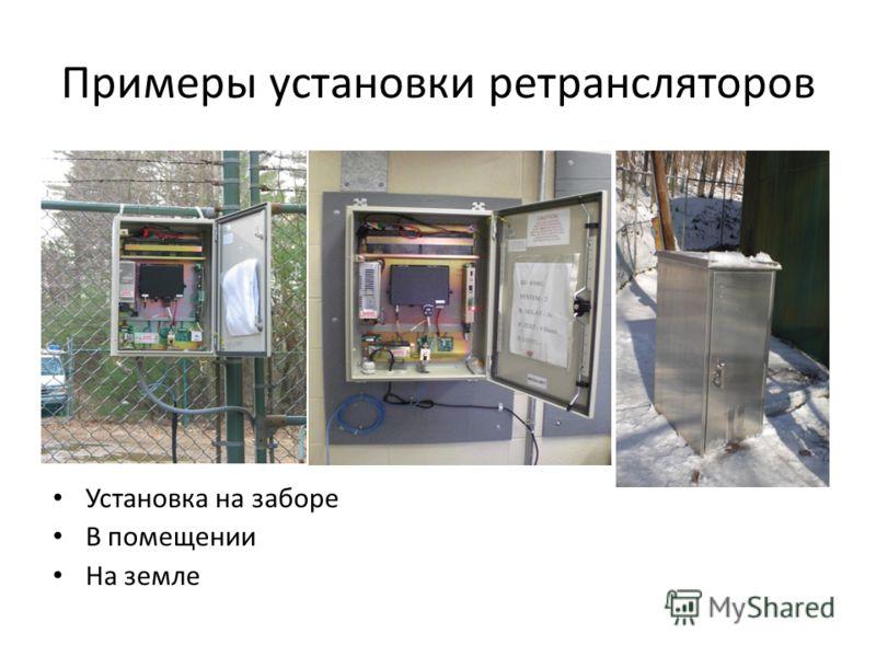 Примеры установки ретрансляторов Установка на заборе В помещении На земле