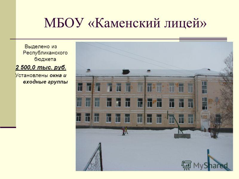 МБОУ «Каменский лицей» Выделено из Республиканского бюджета 2 500,0 тыс. руб. Установлены окна и входные группы