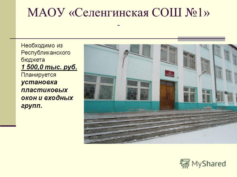 МАОУ «Селенгинская СОШ 1» - Необходимо из Республиканского бюджета 1 500,0 тыс. руб. Планируется установка пластиковых окон и входных групп.