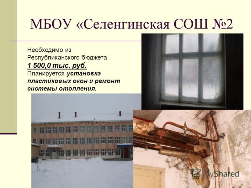 МБОУ «Селенгинская СОШ 2 Необходимо из Республиканского бюджета 1 500,0 тыс. руб. Планируется установка пластиковых окон и ремонт системы отопления.