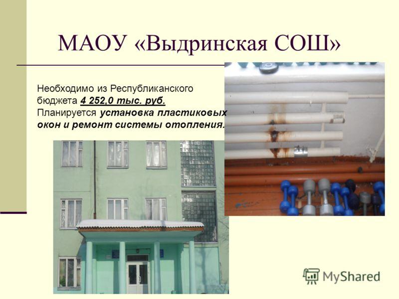МАОУ «Выдринская СОШ» Необходимо из Республиканского бюджета 4 252,0 тыс. руб. Планируется установка пластиковых окон и ремонт системы отопления.