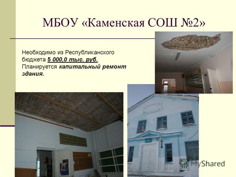 МБОУ «Каменская СОШ 2» Необходимо из Республиканского бюджета 5 000,0 тыс. руб. Планируется капитальный ремонт здания.