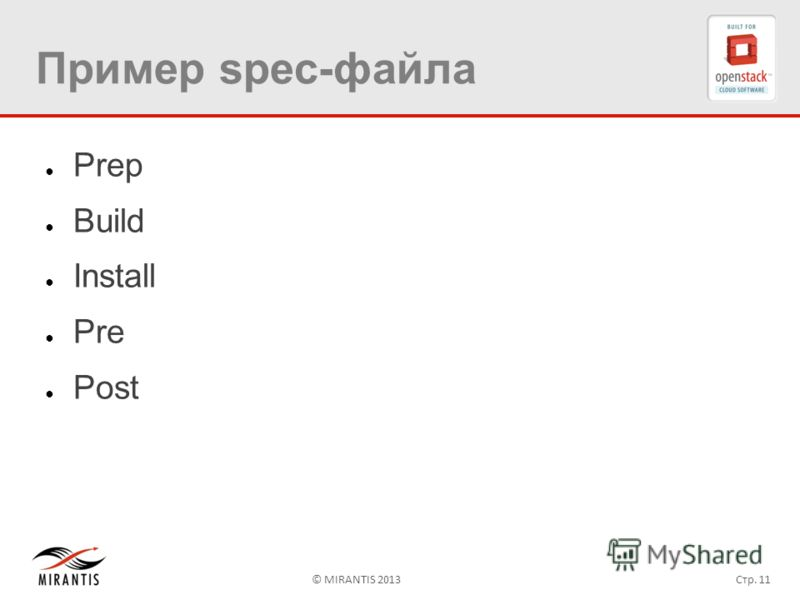© MIRANTIS 2013Стр. 11 Пример spec-файла Prep Build Install Pre Post