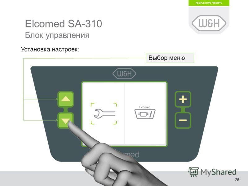 25 Elcomed SA-310 Блок управления Выбор меню Установка настроек:
