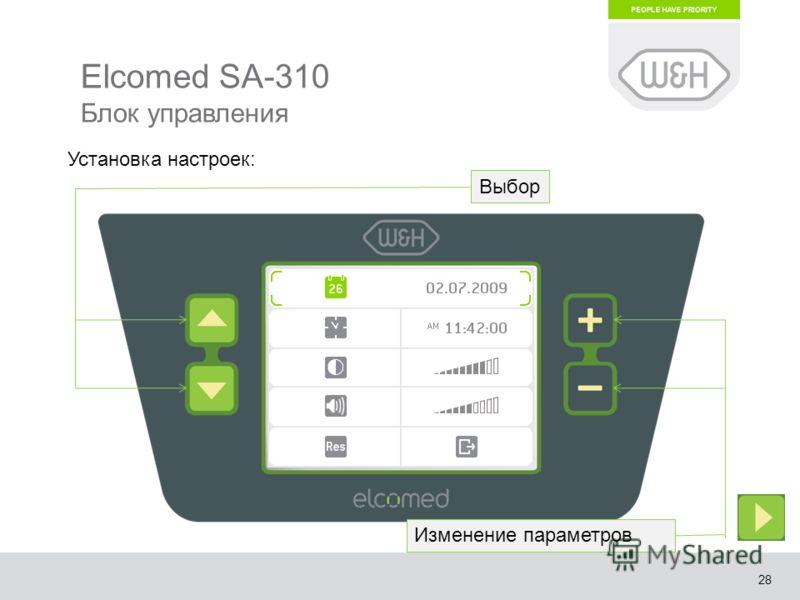28 Elcomed SA-310 Блок управления Выбор Изменение параметров Установка настроек: