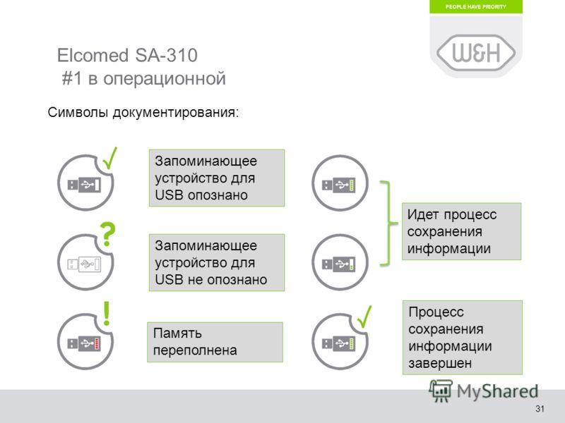31 Elcomed SA-310 #1 в операционной Запоминающее устройство для USB опознано Запоминающее устройство для USB не опознано Память переполнена Идет процесс сохранения информации Процесс сохранения информации завершен Символы документирования: