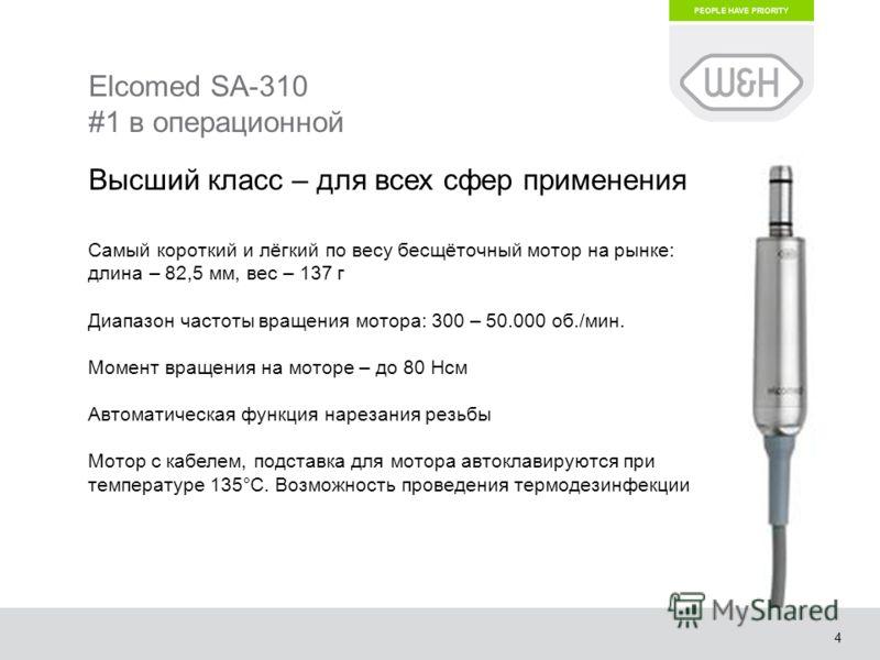 4 Elcomed SA-310 #1 в операционной Высший класс – для всех сфер применения Самый короткий и лёгкий по весу бесщёточный мотор на рынке: длина – 82,5 мм, вес – 137 г Диапазон частоты вращения мотора: 300 – 50.000 об./мин. Момент вращения на моторе – до