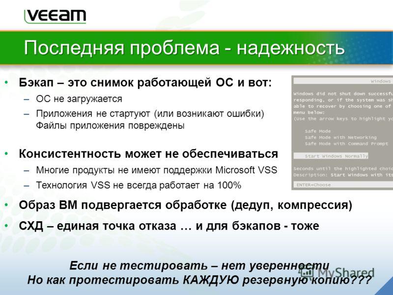 Последняя проблема - надежность Бэкап – это снимок работающей ОС и вот: –OС не загружается –Приложения не стартуют (или возникают ошибки) Файлы приложения повреждены Консистентность может не обеспечиваться –Многие продукты не имеют поддержки Microsof