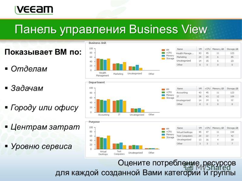 Панель управления Business View Оцените потребление ресурсов для каждой созданной Вами категории и группы Показывает ВМ по: Отделам Задачам Городу или офису Центрам затрат Уровню сервиса