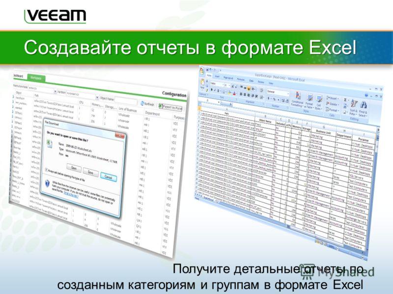 Создавайте отчеты в формате Excel Получите детальные отчеты по созданным категориям и группам в формате Excel