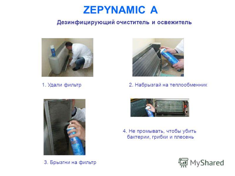 ZEPYNAMIC A Дезинфицирующий очиститель и освежитель 1. Удали фильтр 3. Брызгни на фильтр 4. Не промывать, чтобы убить бактерии, грибки и плесень 2. Набрызгай на теплообменник