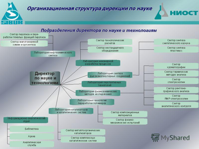 Подразделения директора по науке и технологиям Организационная структура дирекции по науке