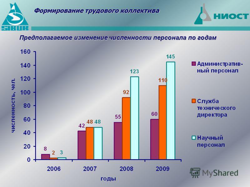 Предполагаемое изменение численности персонала по годам Формирование трудового коллектива