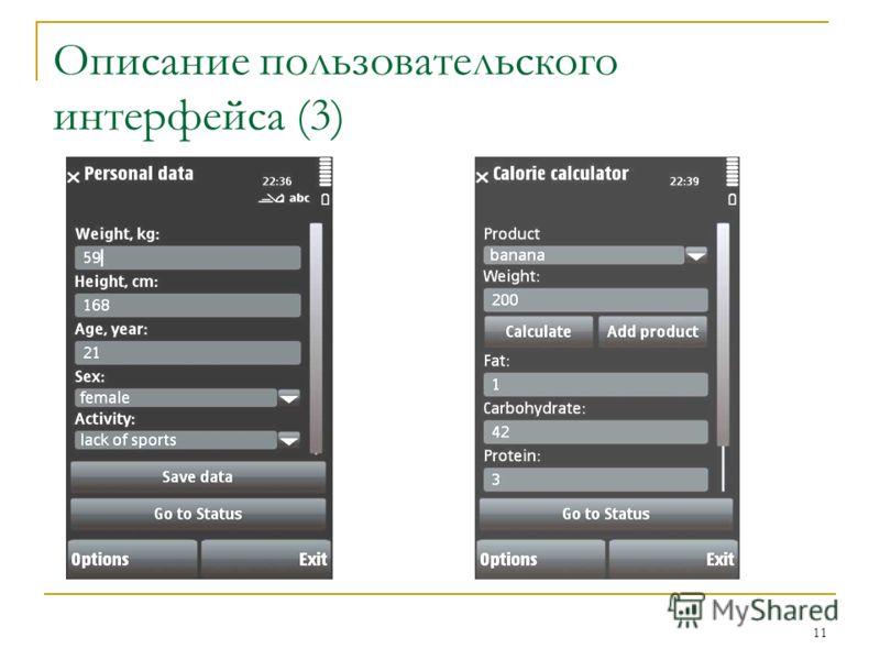 11 Описание пользовательского интерфейса (3)