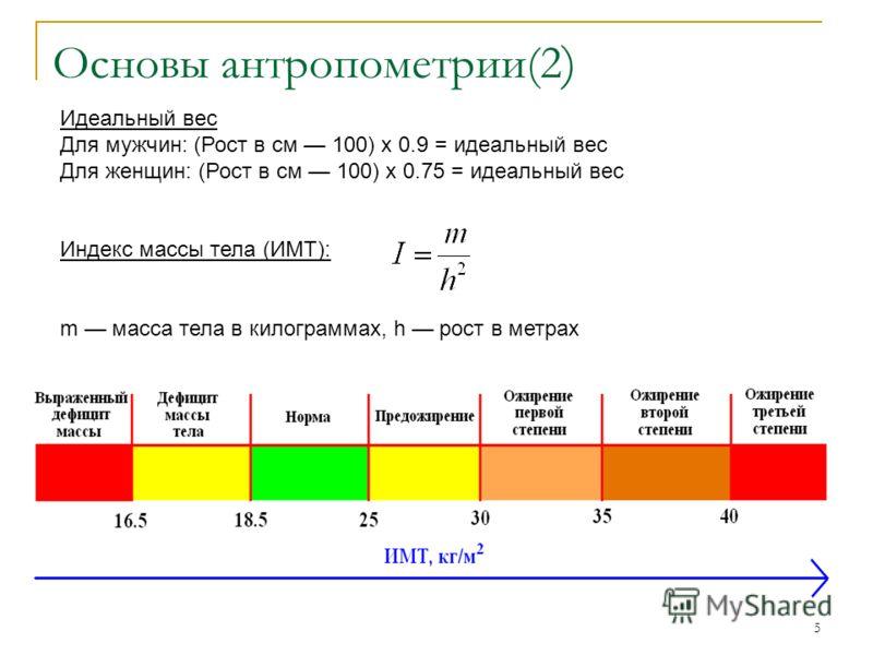 5 Основы антропометрии(2 ) Идеальный вес Для мужчин: (Рост в см 100) х 0.9 = идеальный вес Для женщин: (Рост в см 100) х 0.75 = идеальный вес Индекс массы тела (ИМТ): m масса тела в килограммах, h рост в метрах