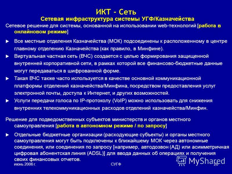 июнь 2006 г.СУГФ20 Сетевая инфраструктура системы УГФ/Казначейства Сетевое решение для системы, основанной на использовании web-технологий [работа в онлайновом режиме] Все местные отделения Казначейства (МОК) подсоединены к расположенному в центре гл