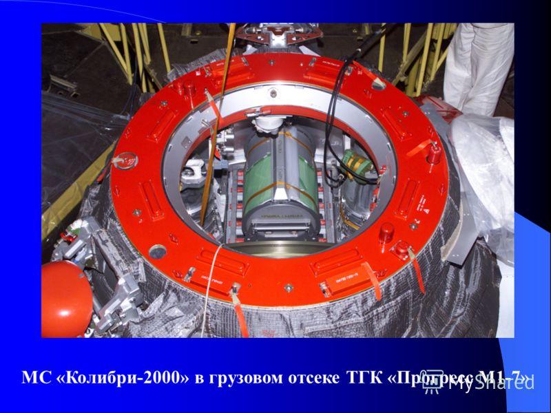 МС «Колибри-2000» в грузовом отсеке ТГК «Прогресс М1-7»