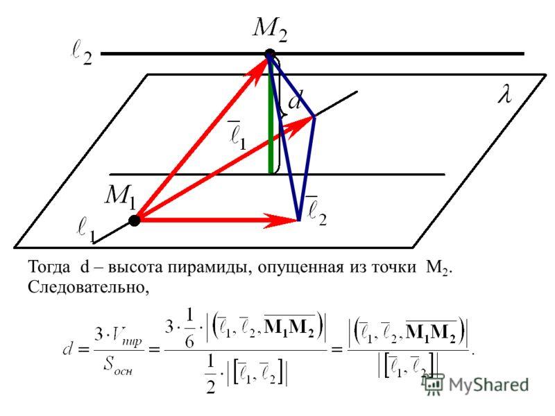 Тогда d – высота пирамиды, опущенная из точки M 2. Следовательно,