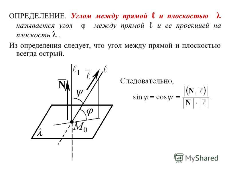 ОПРЕДЕЛЕНИЕ. Углом между прямой и плоскостью λ называется угол φ между прямой и ее проекцией на плоскость λ. Из определения следует, что угол между прямой и плоскостью всегда острый.
