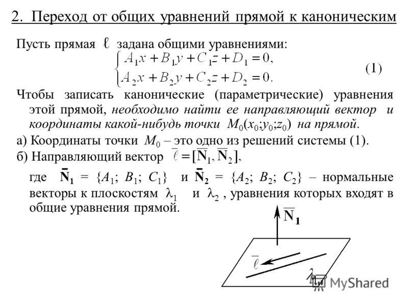 2. Переход от общих уравнений прямой к каноническим Пусть прямая задана общими уравнениями: Чтобы записать канонические (параметрические) уравнения этой прямой, необходимо найти ее направляющий вектор и координаты какой-нибудь точки M 0 (x 0 ;y 0 ;z