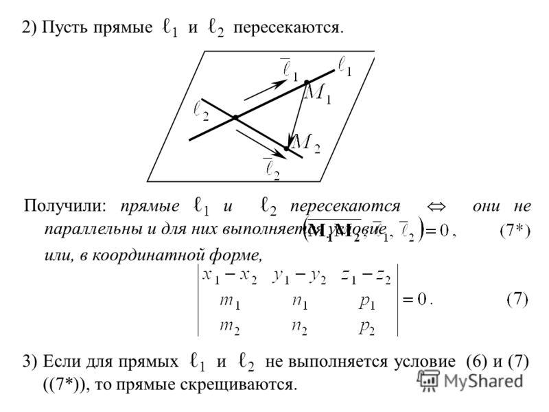 2) Пусть прямые 1 и 2 пересекаются. Получили: прямые 1 и 2 пересекаются они не параллельны и для них выполняется условие или, в координатной форме, 3) Если для прямых 1 и 2 не выполняется условие (6) и (7) ((7*)), то прямые скрещиваются.