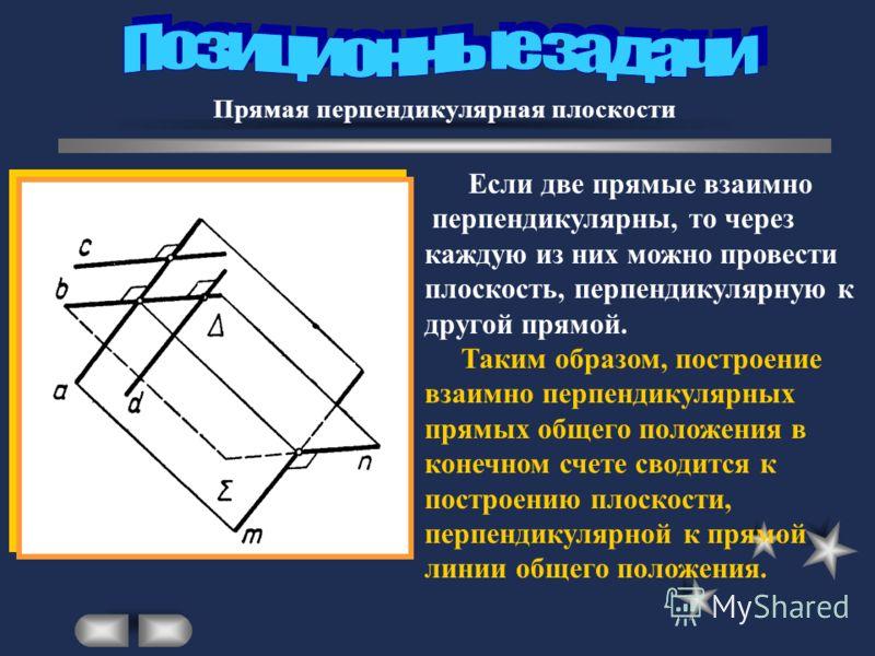 Прямая перпендикулярная плоскости Если две прямые взаимно перпендикулярны, то через каждую из них можно провести плоскость, перпендикулярную к другой прямой. Таким образом, построение взаимно перпендикулярных прямых общего положения в конечном счете