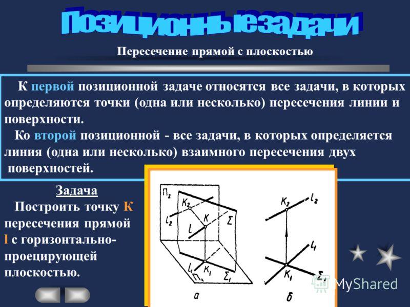 Пересечение прямой с плоскостью К первой позиционной задаче относятся все задачи, в которых определяются точки (одна или несколько) пересечения линии и поверхности. Ко второй позиционной - все задачи, в которых определяется линия (одна или несколько)