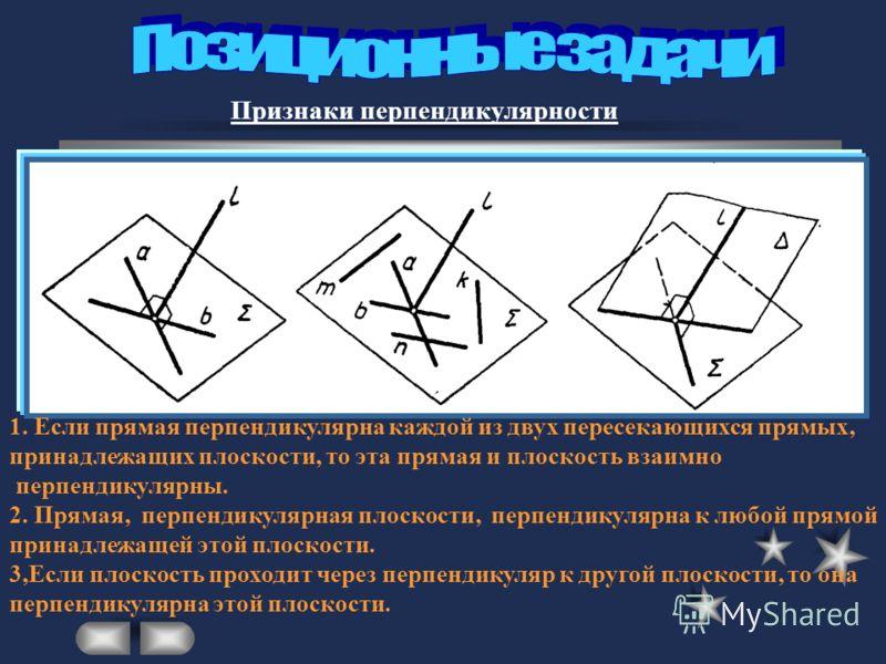 Признаки перпендикулярности 1. Если прямая перпендикулярна каждой из двух пересекающихся прямых, принадлежащих плоскости, то эта прямая и плоскость взаимно перпендикулярны. 2. Прямая, перпендикулярная плоскости, перпендикулярна к любой прямой принадл
