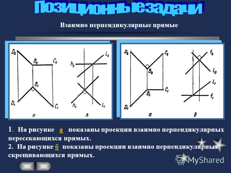 Взаимно перпендикулярные прямые 1. На рисунке а показаны проекции взаимно перпендикулярных пересекающихся прямых. 2. На рисунке б показаны проекции взаимно перпендикулярных скрещивающихся прямых.