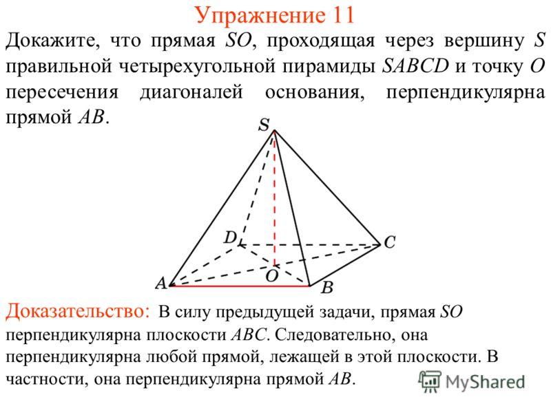 Докажите, что прямая SO, проходящая через вершину S правильной четырехугольной пирамиды SABCD и точку O пересечения диагоналей основания, перпендикулярна прямой AB. Упражнение 11 Доказательство: В силу предыдущей задачи, прямая SO перпендикулярна пло