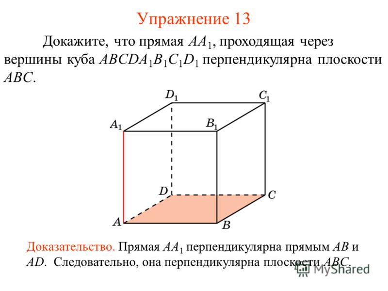 Докажите, что прямая AA 1, проходящая через вершины куба ABCDA 1 B 1 C 1 D 1 перпендикулярна плоскости ABC. Доказательство. Прямая AA 1 перпендикулярна прямым AB и AD. Следовательно, она перпендикулярна плоскости ABC. Упражнение 13