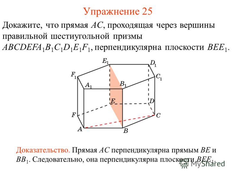 Докажите, что прямая AC, проходящая через вершины правильной шестиугольной призмы ABCDEFA 1 B 1 C 1 D 1 E 1 F 1, перпендикулярна плоскости BEE 1. Доказательство. Прямая AC перпендикулярна прямым BE и BB 1. Следовательно, она перпендикулярна плоскости