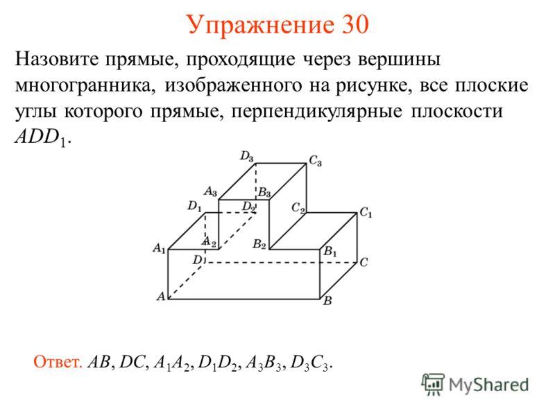 Назовите прямые, проходящие через вершины многогранника, изображенного на рисунке, все плоские углы которого прямые, перпендикулярные плоскости ADD 1. Ответ. AB, DC, A 1 A 2, D 1 D 2, A 3 B 3, D 3 C 3. Упражнение 30