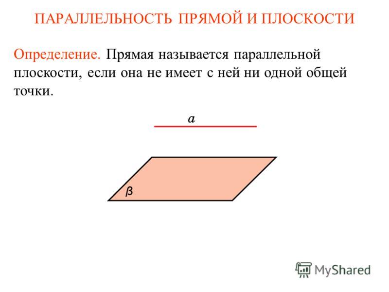 Определение. Прямая называется параллельной плоскости, если она не имеет с ней ни одной общей точки. ПАРАЛЛЕЛЬНОСТЬ ПРЯМОЙ И ПЛОСКОСТИ