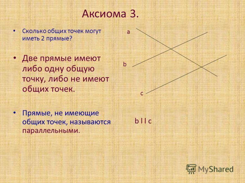 Аксиома 3. Сколько общих точек могут иметь 2 прямые? Две прямые имеют либо одну общую точку, либо не имеют общих точек. Прямые, не имеющие общих точек, называются параллельными. а b c b l l c