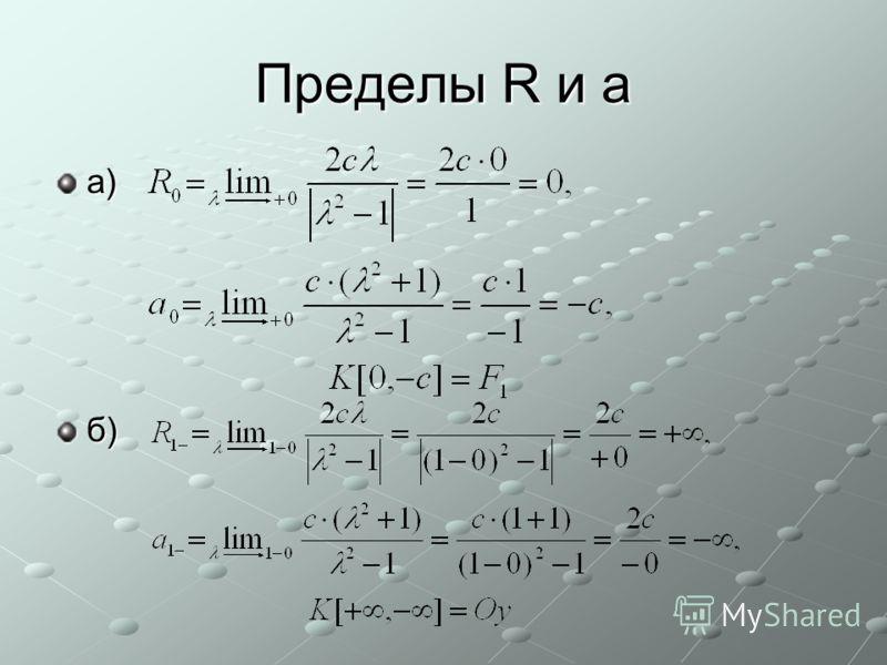 Пределы R и a a)б)