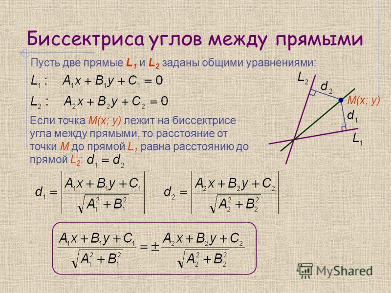 Биссектриса углов между прямыми Пусть две прямые L 1 и L 2 заданы общими уравнениями: Если точка M(x; y) лежит на биссектрисе угла между прямыми, то расстояние от точки М до прямой L 1 равна расстоянию до прямой L 2 : M(x; y)