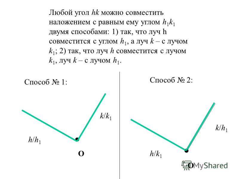 А В С От любого луча в данную полуплоскость можно отложить угол, равный данному углу, и притом только один. Угол ВАС лежит в одной полуплоскости и единственный на луче.