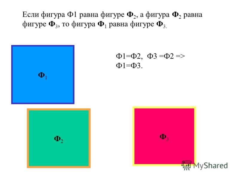 Если фигура Ф равна фигуре Ф1, то фигура Ф1 равна фигуре Ф. ФФ1Ф1 Ф =Ф 1, Ф 1 = Ф.