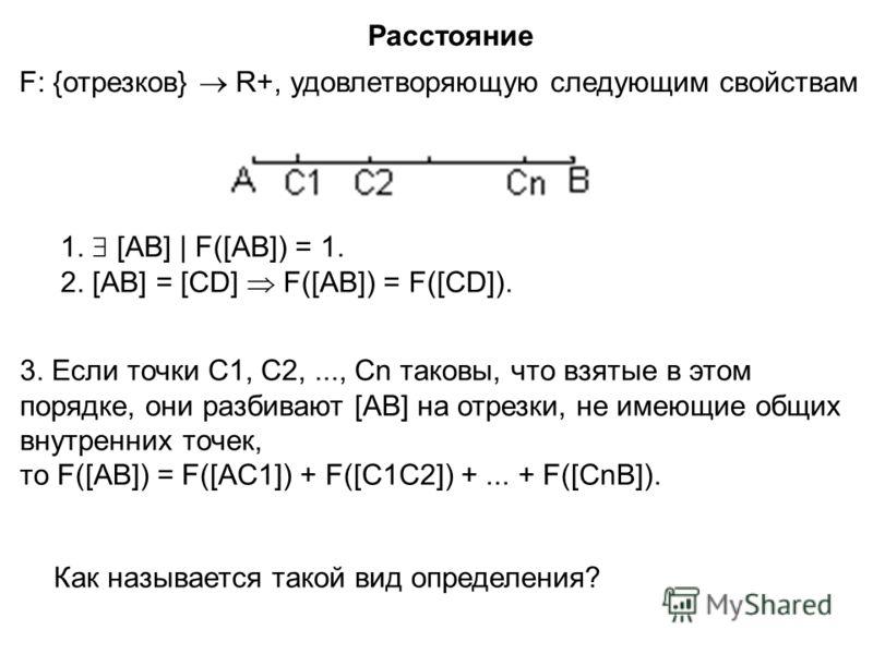 : F: {отрезков} R+, удовлетворяющую следующим свойствам Расстояние 1. [AB] | F([AB]) = 1. 2. [AB] = [CD] F([AB]) = F([CD]). Как называется такой вид определения? 3. Если точки С1, С2,..., Сn таковы, что взятые в этом порядке, они разбивают [AB] на от