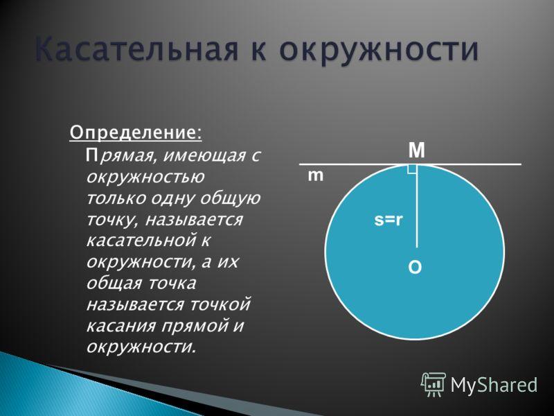 Определение: П рямая, имеющая с окружностью только одну общую точку, называется касательной к окружности, а их общая точка называется точкой касания прямой и окружности. O s=rs=r M m
