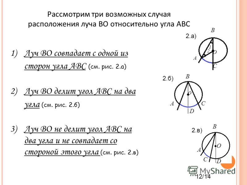 Рассмотрим три возможных случая расположения луча ВО относительно угла АВС 1)Луч ВО совпадает с одной из сторон угла АВС (см. рис. 2.а) 2)Луч ВО делит угол АВС на два угла (см. рис. 2.б) 3)Луч ВО не делит угол АВС на два угла и не совпадает со сторон