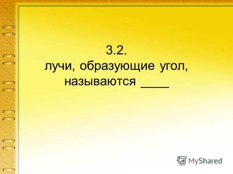 3.2. лучи, образующие угол, называются ____