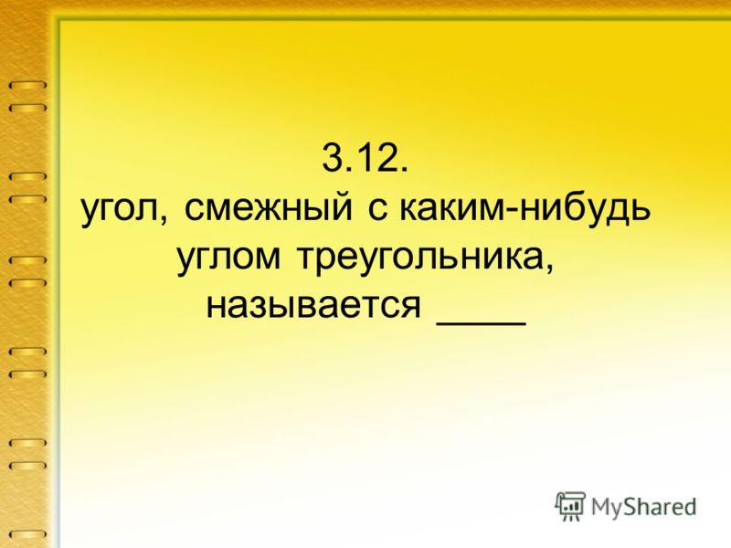3.12. угол, смежный с каким-нибудь углом треугольника, называется ____