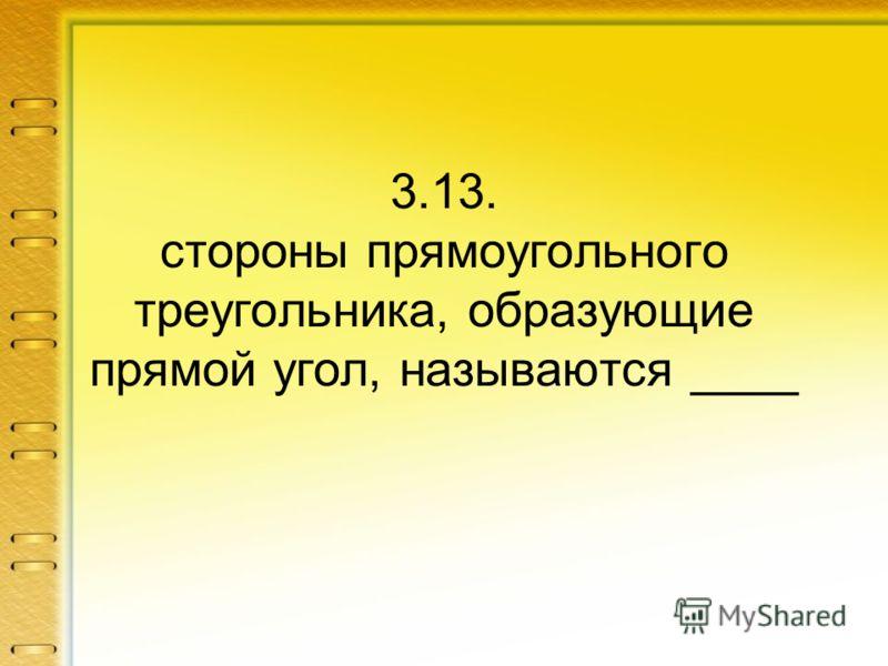 3.13. стороны прямоугольного треугольника, образующие прямой угол, называются ____