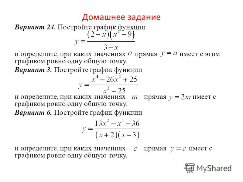 Домашнее задание Вариант 24. Постройте график функции и определите, при каких значениях прямая имеет с этим графиком ровно одну общую точку. Вариант 3. Постройте график функции и определите, при каких значениях прямая имеет с графиком ровно одну общу