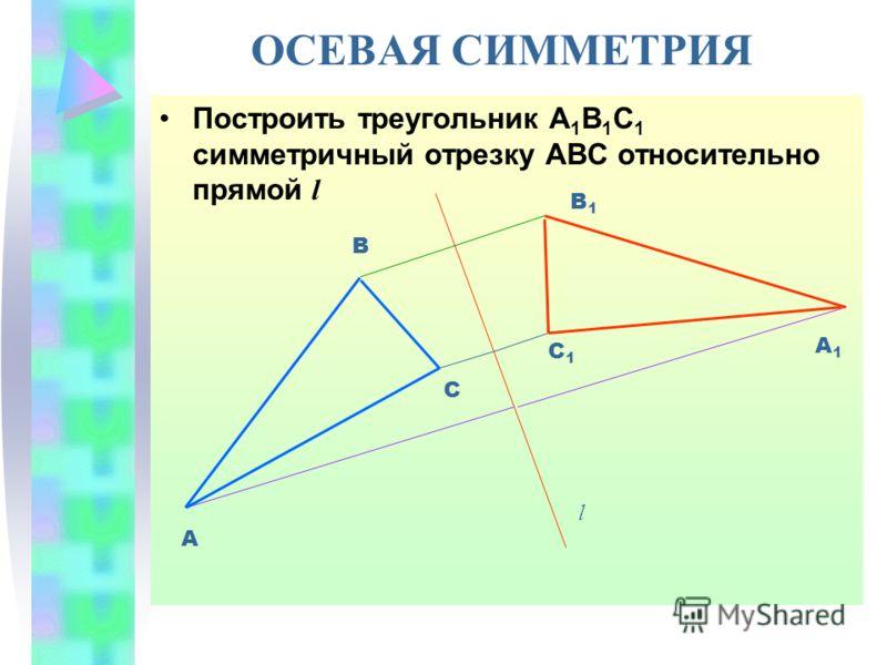 ОСЕВАЯ СИММЕТРИЯ Построить треугольник А 1 В 1 С 1 симметричный отрезку АВС относительно прямой l А В А1А1 В1В1 l С С1С1