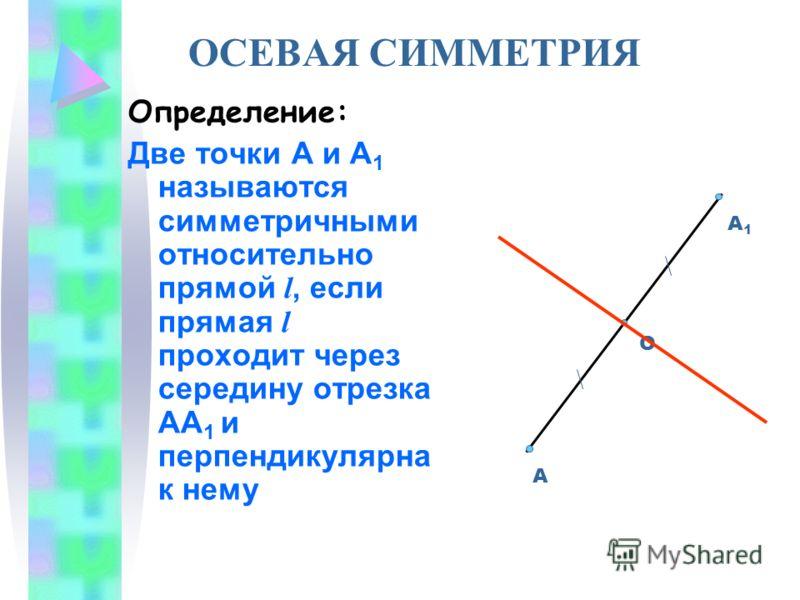 ОСЕВАЯ СИММЕТРИЯ Определение: Две точки А и А 1 называются симметричными относительно прямой l, если прямая l проходит через середину отрезка АА 1 и перпендикулярна к нему А А1А1 О
