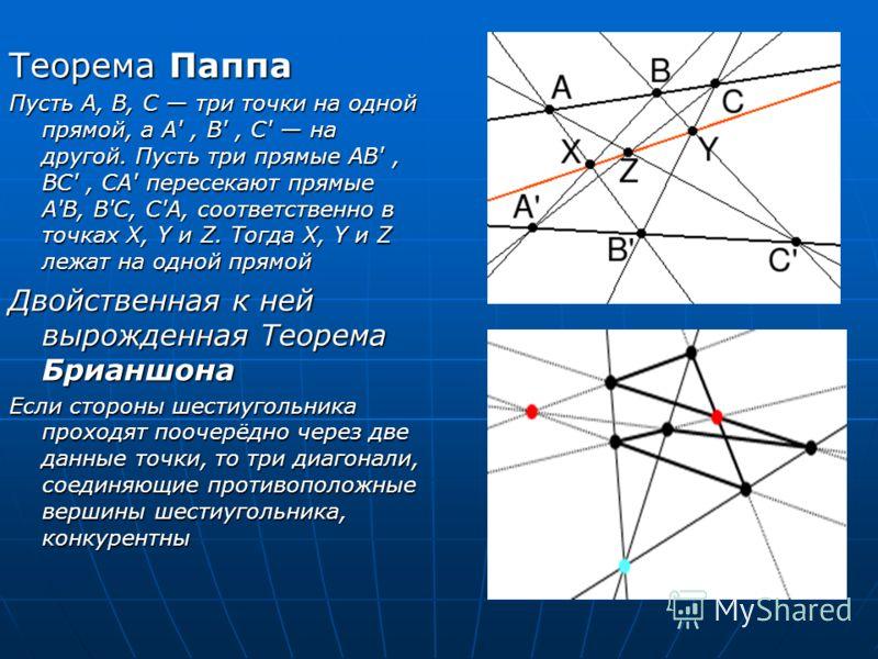 Теорема Паппа Пусть A, B, C три точки на одной прямой, а A', B', C' на другой. Пусть три прямые АВ', BC', CA' пересекают прямые A'B, B'C, C'A, соответственно в точках X, Y и Z. Тогда X, Y и Z лежат на одной прямой Двойственная к ней вырожденная Теоре